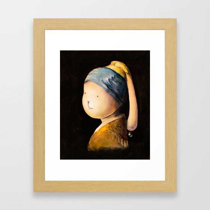 Rabbit with a Pearl Earring Framed Art Print