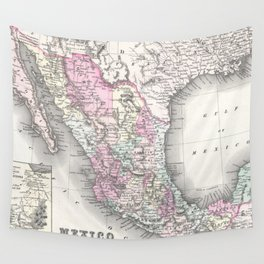 Vintage Map of Mexico (1855) Wall Tapestry