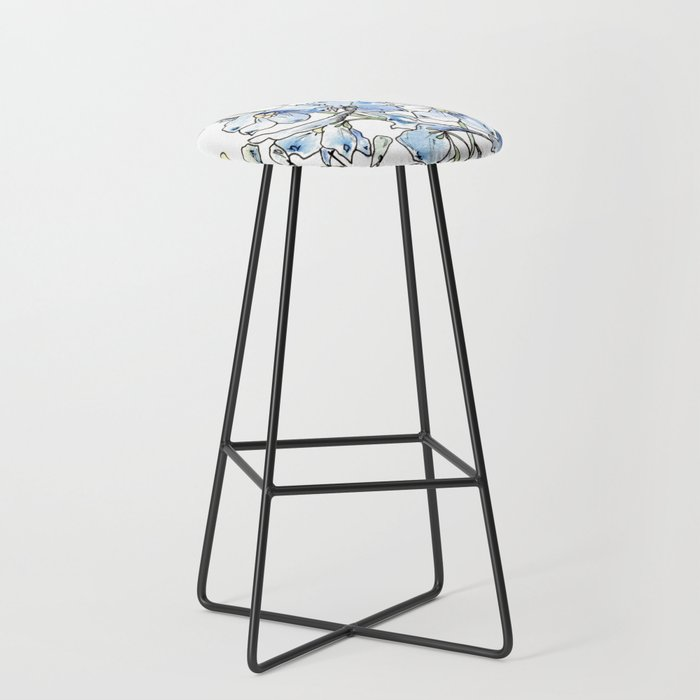 Blue Delphinium Flowers Bar Stool