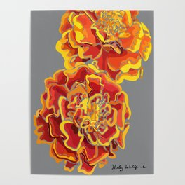 Marigold in Burnt Orange and Grey by Hxlxynxchxle Poster