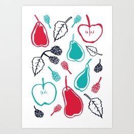 Apples and pears in blue and red Art Print