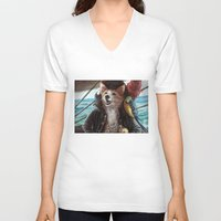 cassandra jean V-neck T-shirts featuring Jean Lafeet by Christina Hess