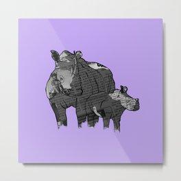 Newspaper Rhinoceros Metal Print