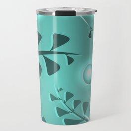 Botanical pattern turquoise plant elements blue ethnic style. Travel Mug