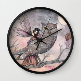 Friendship Fairy and Owl Autumn Fantasy Art by Molly Harrison Wall Clock