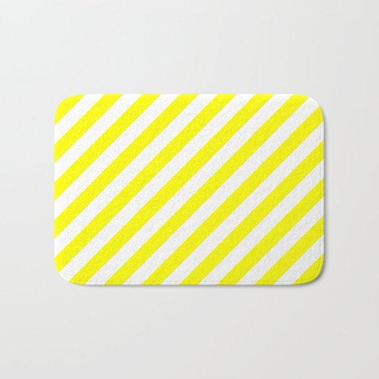 Diagonal Stripes (Yellow/White) Bath Mat