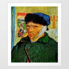 Van Gogh, Self-Portrait with Bandaged Ear and Pipe  – Van Gogh,Vincent Van Gogh,impressionist,post-i Art Print