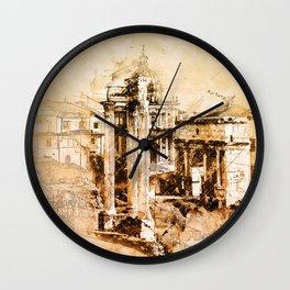 Roman Forum Sketch Wall Clock
