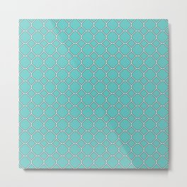 Turquoise Blue Clover Pattern Metal Print