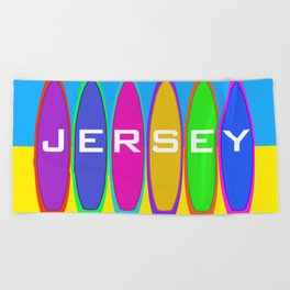Jersey Surfboards on the Beach Beach Towel