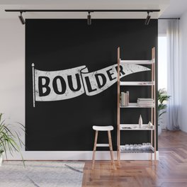 Boulder Colorado Pennant Flag B&W // University College Dorm Room Graphic Design Decor Black & White Wall Mural