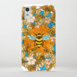 Bumblebee In Wild Rose Wreath iPhone Case
