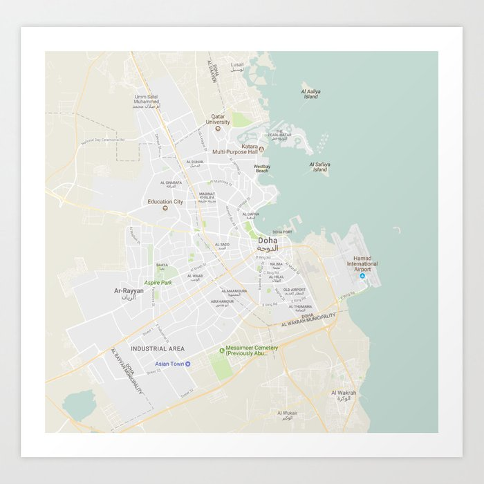 Minimalist Modern Map of Doha, Qatar 10 Art Print by asarstudios on alexandria area map, kyoto area map, rotterdam area map, cairo area map, qatar area map, hangzhou area map, narita area map, hyderabad area map, berlin area map, beijing area map, baghdad area map, kowloon area map, warsaw area map, bahrain area map, lilongwe area map, phnom penh area map, macau area map, mosul area map, kuala lumpur area map, bilbao area map,