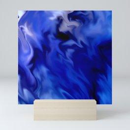 Dark Blue and silver waves Mini Art Print
