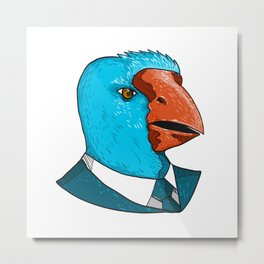 South Island Takahe in Business Suit Drawing Metal Print