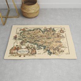 1951 Vintage Map of Brittany, France. Rug