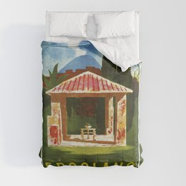 Ercolano Naples Italian summer travel ad Comforters