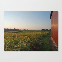 Setting Sun On Barn With Sunflowers #2 Canvas Print