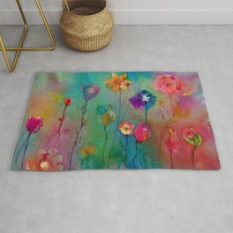 Colorful flowers painting watercolors art illustration Rug