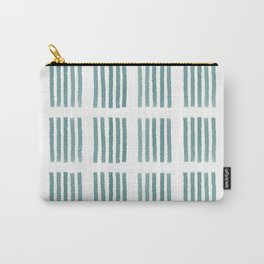 Stipes Pattern in Teal Carry-All Pouch