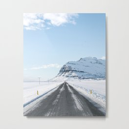 Winter roads - Iceland | landscape - photography - nature - print - arctic - ring road - white Metal Print