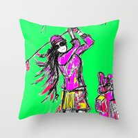 girl power Throw Pillows featuring Girl Power by sladja
