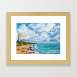 Sea landscape with lighthouse, seagulls and stones painted in watercolor Framed Art Print