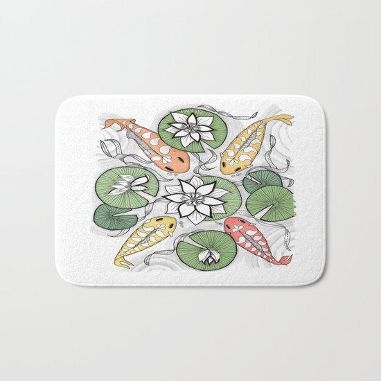 Koi Reunion - Zentangle Illustration Bath Mat