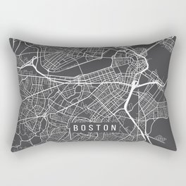 Boston Map, Massachusetts USA - Charcoal Portrait Rectangular Pillow