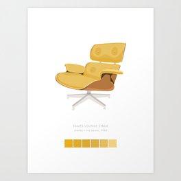 Midcentury Eames Lounge Chair - Goldenrod Gradient Art Print Art Print