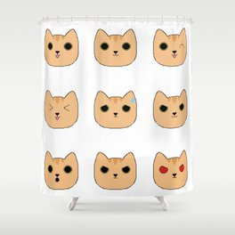 Orange Tabby Pixel Cat Emotes Shower Curtain