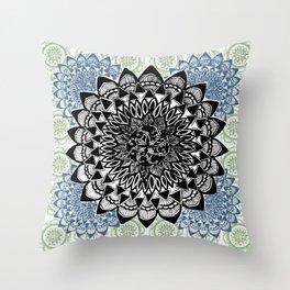 Light Green, Grey, and Black Muted Mandala Pattern Throw Pillow
