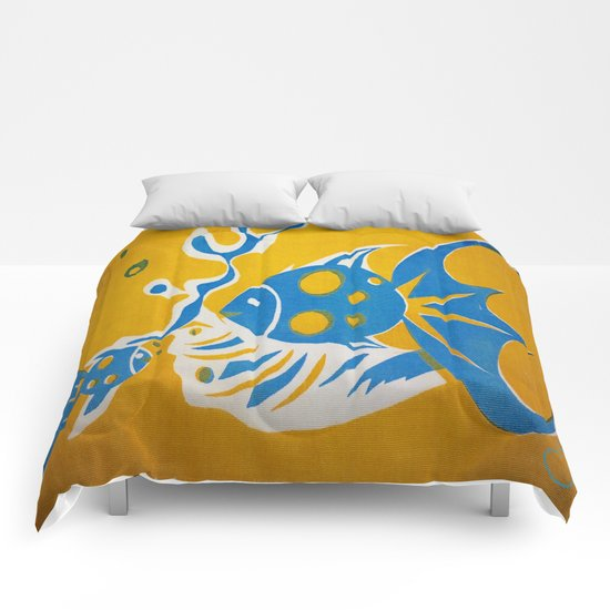 Screenprint Gold and Fish Comforters