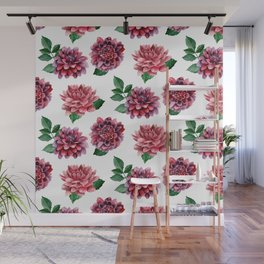 Dahlias. Watercolor flowers illustration. Red floral pattern. Botanical art. Сhrysanthemum Wall Mural