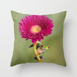 Red Eyed Tree Frog on a Flower Throw Pillow