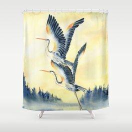 Flight Of Blue Heron  Shower Curtain