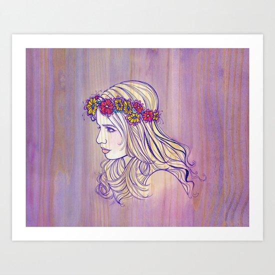 Violet Woodgrain Girl Art Print