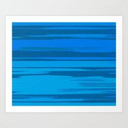 Blue Sea Abstract Cloud Stripes Art Print