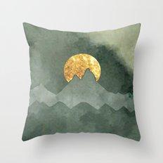 Mountain Sunrise: a pretty, minimal abstract mountain range design in white, green and gold #buyart Throw Pillow