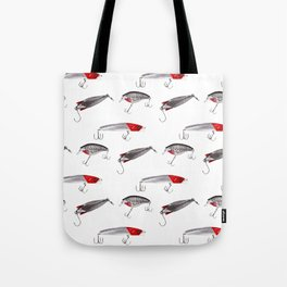Red and Silver Fishing Lures Tote Bag