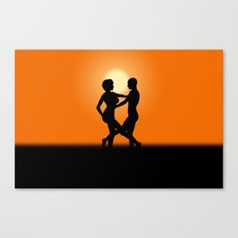 Sunset Dancing Lovers Canvas Print