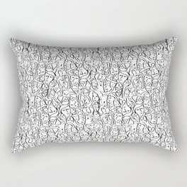Mini Elio Shirt Faces in Black Outlines on White CMBYN Rectangular Pillow
