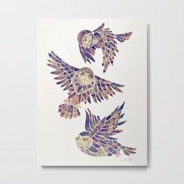 Owls in Flight – Mauve Palette Metal Print
