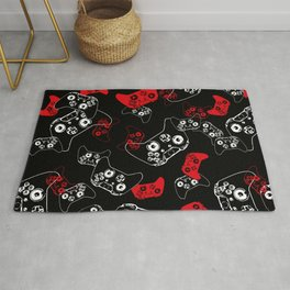 Video Game Red on Black Rug