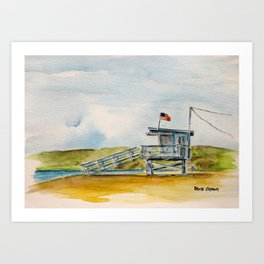 Santa Monica Beach - Lifeguard Tower #8 Art Print
