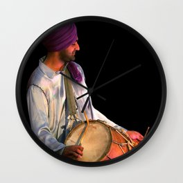 Dhol Drummer in traditional Punjabi dress Wall Clock