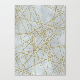 Golden Faux Glitter Lines On Teal Grey Canvas Print