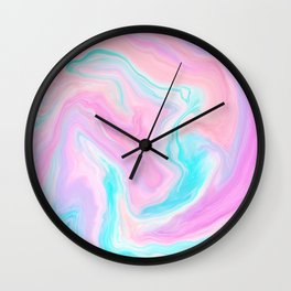 Pastel pink turquoise abstract marble painted background Wall Clock