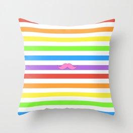 Pink Rainbow Mustache Madness! Throw Pillow