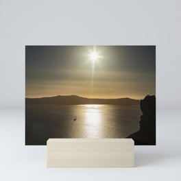 Sunset over Santorini Mini Art Print